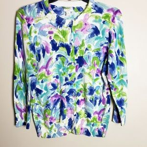 J. Crew The Clare Cardigan Watercolor Print